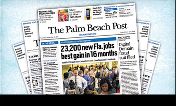 """<i>The Palm Beach Post</i> - DUMMY ADDRESS NEEDED: $22 for a 26-Week Sunday-Edition Newspaper Subscription to """"The Palm Beach Post"""" ($95.63 Value)"""
