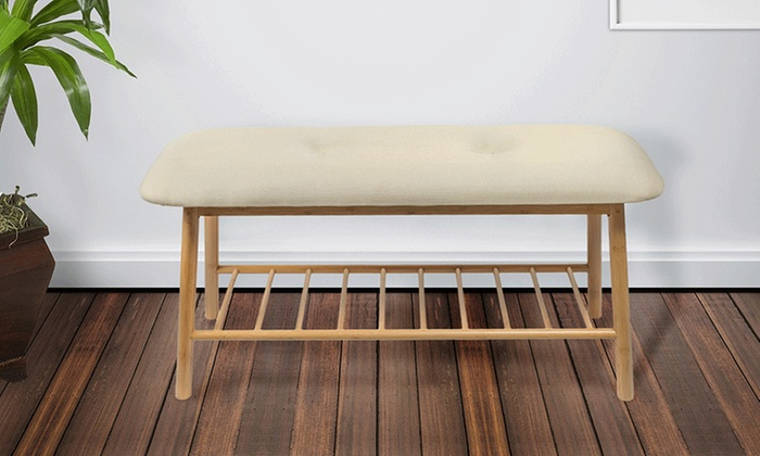 Natural Wood Padded Bench Groupon Goods
