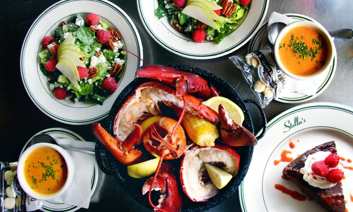 Stella's Fish Cafe - Uptown: Four-Course Lobster Bake for Two with Wine at Stella's Fish Cafe (Up to 50% Off)
