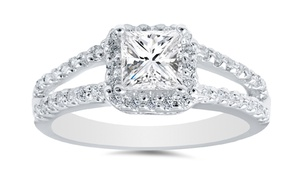 1.00 Cttw Princess-cut Diamond Ring In 14k White Gold By Bliss Diamond