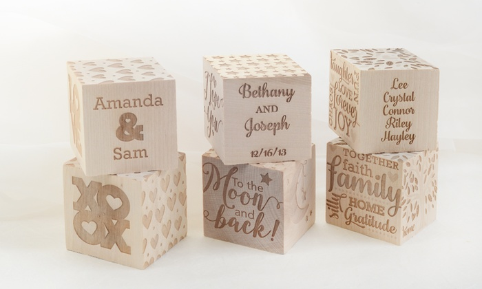 Picture it Custom: One, Two, or Three Personalized Wooden Engraved Blocks from Picture it Custom (Up to 77% Off)