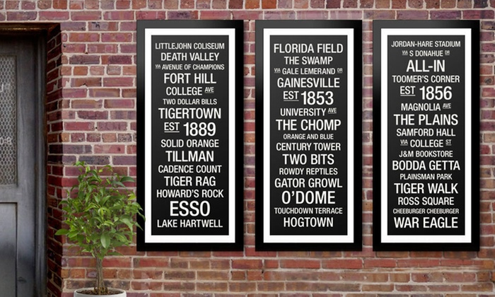 "Framed College Town Bus Roll Print: $79 for a 44""x18"" Framed College Town Bus Roll Print ($299 List Price). 30 Schools Available. Free Shipping and Returns."