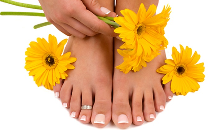 Vibe Hair Designs - Aurora: One or Two Regular Mani-Pedis or One Shellac Manicure and Regular Pedicure at Vibe Hair Designs (Up to 61% Off)