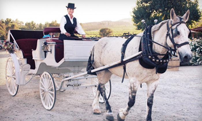 Temecula Carriage Company - Temecula Carriage Company: $99 for a Winery Tour for Two in Horse-Drawn Carriage with Bottle of Wine from Temecula Carriage Company ($220 Value)