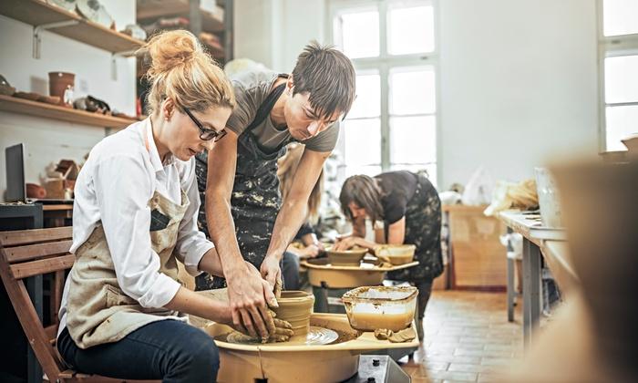 pottery classes muddy potter art clay studio groupon. Black Bedroom Furniture Sets. Home Design Ideas