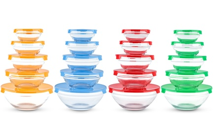One or Two Sets of Five Glass Food Storage Containers in Choice of Colour