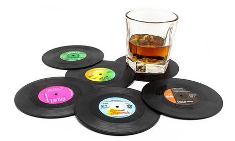 Pack de 6 o 12 posavasos con diseño de discos de vinilo