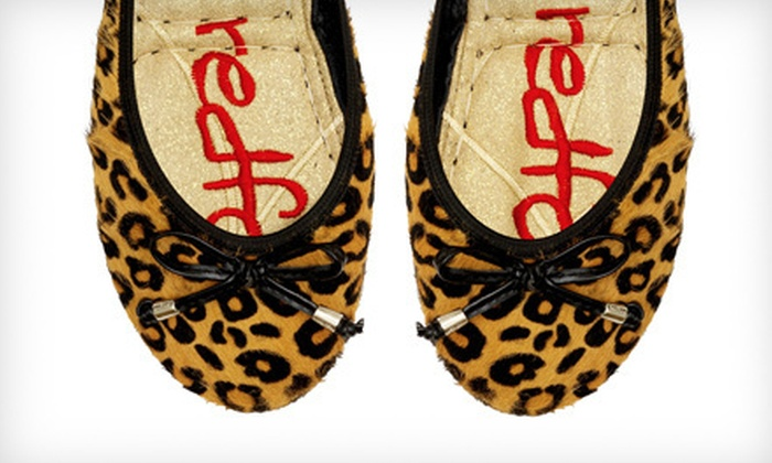 Redfoot Paloma Pony Foldable Flats: $19 for Redfoot Paloma Pony Foldable Flats in Leopard Print ($80 List Price). Three Sizes Available.