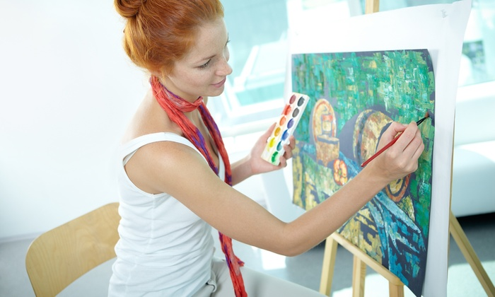 Painting classes or party uncork 39 d art groupon for Groupon painting class