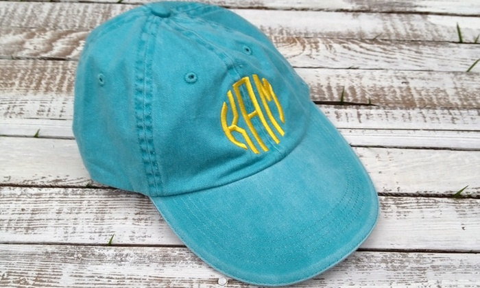 Embellish Accessories and Gifts - Victoria: One, Two, or Four Monogrammed Baseball Caps from Embellish Accessories and Gifts (Up to 55% Off)