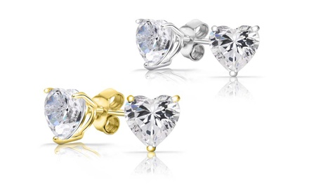 Solid 14K Gold or White Gold Studs with Heart-Cut Swarovski Elements