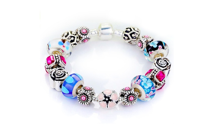 87f55bcc43 Genuine Murano Glass and Crystal Bracelet Made With Swarovski Crystals