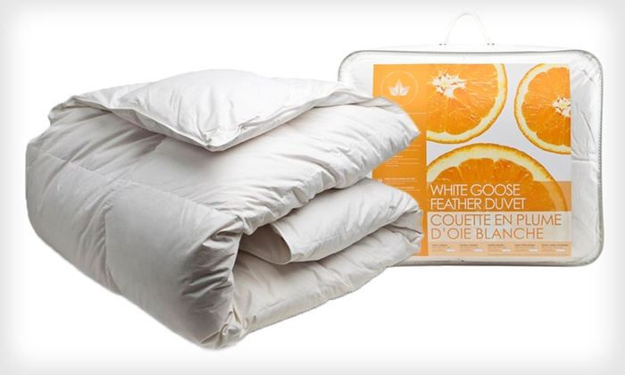 White Goose-Feather Duvets: Canadian Down & Feather Company Twin, Double, Queen, or King White Goose-Feather Duvet (Up to 57% Off)
