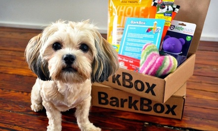 Three- or Six-Month Subscription for Monthly Delivery of Dog Goodies from BarkBox (Up to 41% Off)