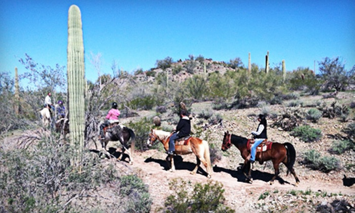 MD Ranch - Queen Creek: Sunset Trail Ride on Horseback for 2 or 4, or a Two-Night Horse Camping Trip for Up to 20 from MD Ranch (Up to 55% Off)