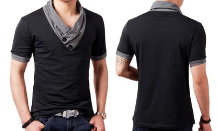 T-shirt homme avec col châle bicolore 100% coton, taille au choix, à 15,90€