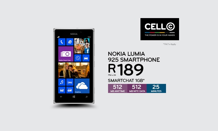 Cell C - Merchandising (ZA): Cell C: Pay R1 to Qualify for a Nokia Lumia 925 on a SmartChat 1GB R189 24-Month Contract (Save 35% Monthly)