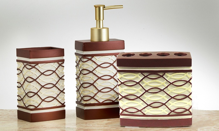 ... 3 Piece Resin Bath Accessories Set: 3 Piece Resin Bath Accessories