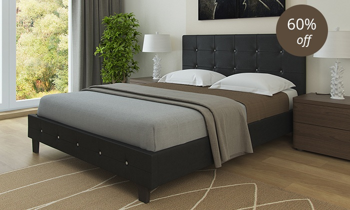 Modern queen size beds groupon goods for Beds groupon