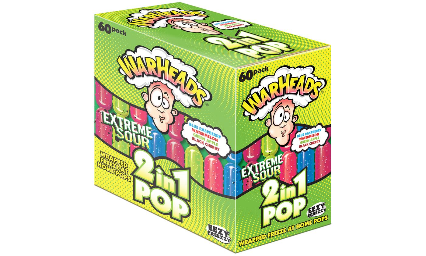 60 Pack Warheads Extreme Sour 2 in 1 Pop