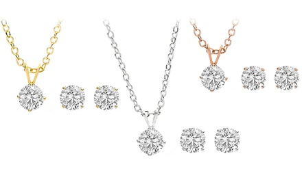 Swarovski Elements 1-Carat Crystal Pendant and Stud Earrings Set