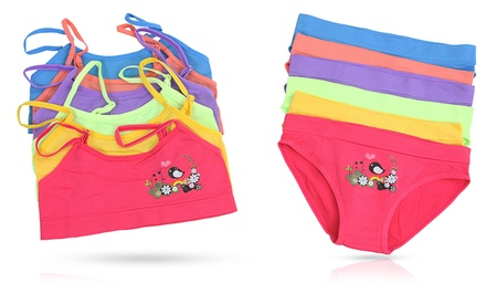 Girls' Seamless Printed Bralettes and Matching Briefs (6-Pack)