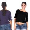 2-Pack of Women's Button-Tab Sleeve Crop Tops