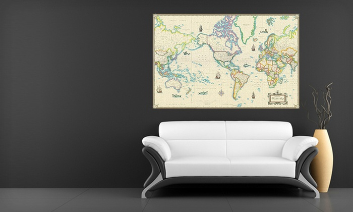 Up to 84 off canvas giclee wall maps groupon canvas giclee wall maps framed or unframed canvas giclee wall maps up to 84 gumiabroncs Choice Image