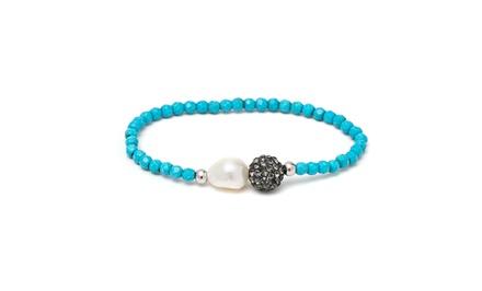 Sterling Silver Faceted Genuine Gemstone & Pearl Stretch Bracelets
