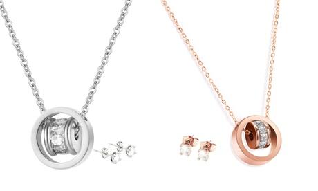 Conjunto de colgante y pendientes Orbit adornados con cristales de Swarovski®