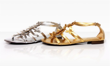 Unze Women's Floral Sandals in Silver or Gold. Multiple Options Available. Free Returns.