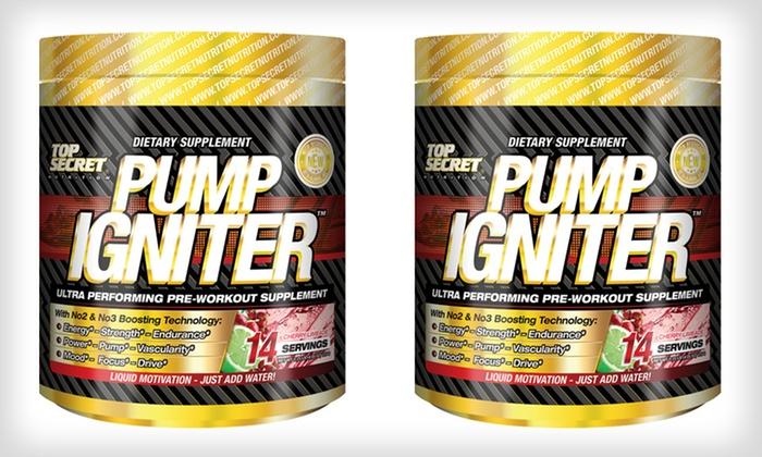 Top Secret Nutrition Pump Igniter Pre-Workout Supplement 2-Pack: Pump Igniter Supplement With 1 BottleFree;3.45 Oz. Multiple Flavors.