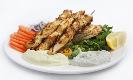 Greek Meal with Wine for Two at BZ Grill (Up to 57% Off)