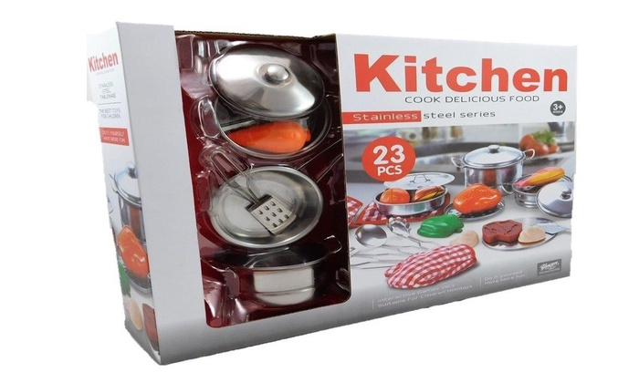 Up To 37 Off Toy Stainless Steel Kitchen Set Groupon