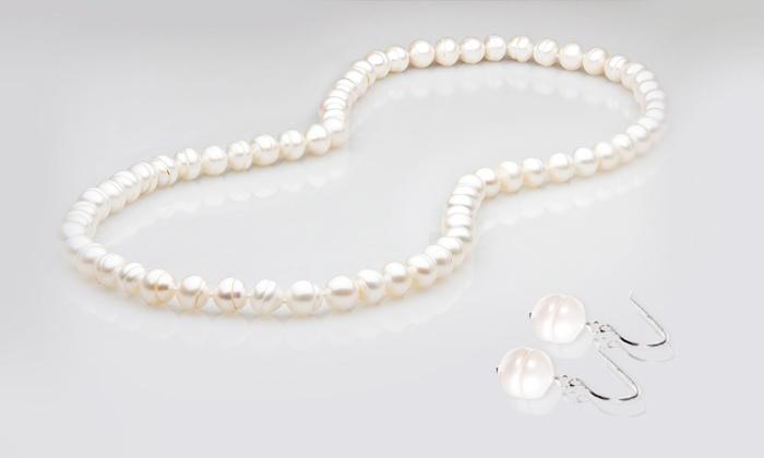 rivenditore all'ingrosso 45654 81240 Collana e orecchini con perle vere d'acqua dolce da 9,99 € (sconto fino a  94%)