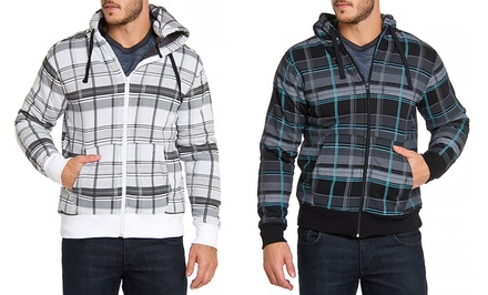 Distortion Men's Plaid Fleece Zip-Up Hoodie with Sherpa Lining