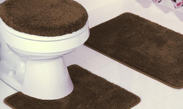 3 Piece Plush Bath Rug Set Groupon Goods