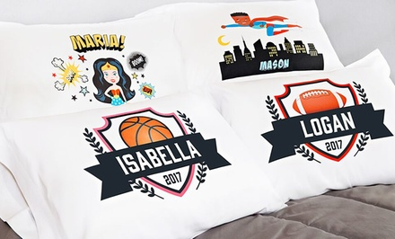 1, 2, 3, 5, or 10 Personalized Superhero or Sports Pillowcases from Qualtry (Up to 84% Off)