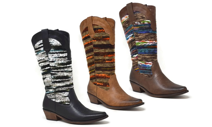 2fa7ae6206b7 Mata Shoes Women s Variegated Knitted Cowgirl Boots