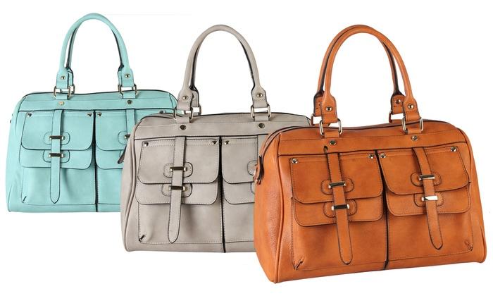 Faux-Leather Satchel Handbags
