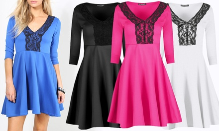 Contrast Lace Panel Skater Dress for £11.99