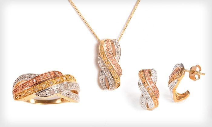 Tri-Color Diamond Ring : $19 for Tri-Color Diamond Ring, Pendant, or Earrings ($129 List Price). 8 Options Available. Free Shipping and Returns.