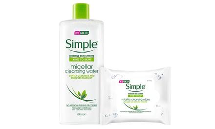1, 2 o 3 botellas de agua limpiadora micelar de 400 ml con pack de 25 toallitas