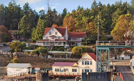 groupon daily deal - 1- or 2-Night Stay with Breakfast and Dinner Entree for Two at Orcas Hotel on Orcas Island, WA. Combine Up to 4 Nights.