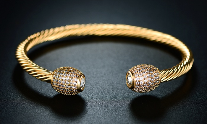 27d8a0bf1437 Barzel Women s 18K Gold Plated Open Bangle with Swarovski Elements