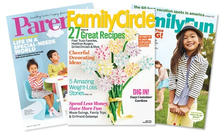 "groupon daily deal - Subscription to ""Parents,"" ""Family Circle,"" or ""FamilyFun"" from Blue Dolphin Mother's Magazines (Up to 65% Off)"