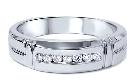 0.30 CTTW Round Diamond Men's Wedding Band in 14K White Gold by Bliss Diamond