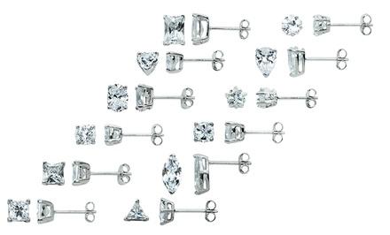 12-Pair Set of Cubic Zirconia Stud Earrings in Sterling Silver