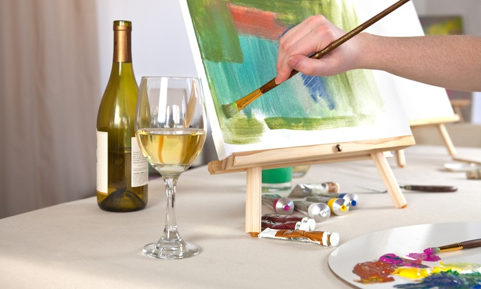 Fancy Doodle Art & Wine House - Helen: Wine and Canvas Painting Session for Two, Three, or Four at Fancy Doodle Art & Wine House (Up to 45% Off