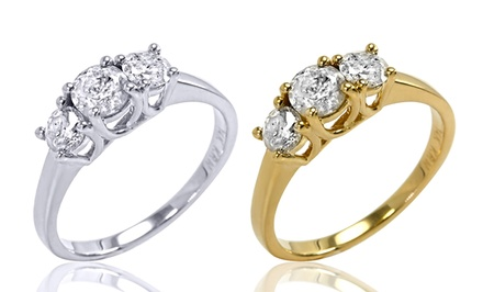 1.50 CTTW 3-Stone Certified Diamond Ring in 14-Karat White or Yellow Gold